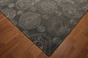 8'x11' Tone on Tone Greenish Grey Color Handmade Damask Wool Bamboo Silk Area Rug