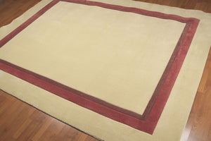 8'x10' Cream, Brown, Rust Color Hand Tufted  Transitional Nylon Rug