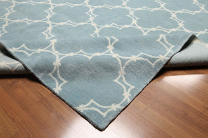 8'x11' Light Blue & Ivory  Color Hand Knotted Tibetan  100% Wool Area Rug