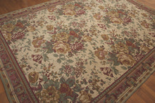 8'x11' Beige, Green, Rust, Gold, Multi Color Italian Limonta Made Needlepoint Aubusson Cotton and Chenille Branded Rug