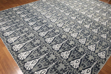 9'x12' Grey, Blue, Ivory Multi Color Hand Knotted 250 KPSI Peshawar Ikat 100 % Wool Area Rug