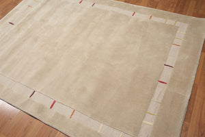"5'3""x7'6"" Beige, Red, Yellow, Multi Color Hand Tufted Modern Wool Rug"