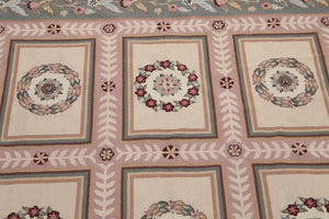 6'x9' Beige, Pink, Gray, Rose, Multi Color Fine Hand Made Needlepoint Aubushan Persian Oriental Wool Rug