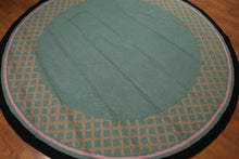 8' x 8' Hand hooked Round 100% wool area rug Modern Turquoise 8x8