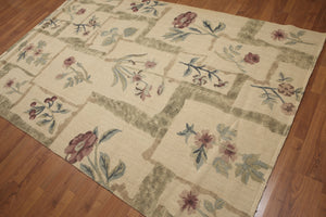 6'x9' Khaki, Olive Green, Brown, Rose, Multi Color Hand Woven Oriental Hemp Rug