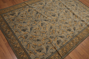 "5'7""x7'10"" Light Grey, Tan,Blue,Gold, Multi Color Machine Made Oriental Cotton Rug"