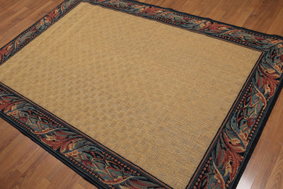 5'x7' Gold, Navy, Aqua, Rust, Multi Color Machine Made Oriental Wool Rug