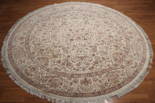 8' x 8' as is Hand knotted 300 KPSI Traditional Tabrizz Wool Area rug 8x8 Ivory