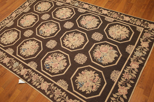 "5'2""x7'6"" Brown, Beige, Pale Pink,  Multi Color Hand Knotted 100% Wool Needlepoint Area Rug"
