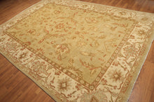 "8'2""x11'6""  Beige, Burnt Orange, Ivory, Gold Wash, Multi Color Hand Knotted Turkish Oushak 100% Wool Oriental Area Rug"