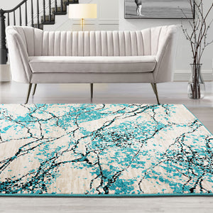 Polypropylene Lightning Modern & Contemporary Persian style rugs in living room area.