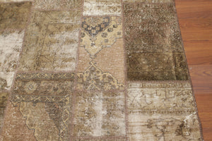 8' x 10' Hand Knotted Turkish Oriental over-dyed patchwork 100% Wool Area Rug