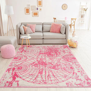Beige Gray Pink Color Machine Made Persian style rugs in living area.