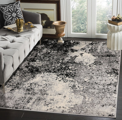 Gray Ivory Black Color Machine Made Persian style rugs.