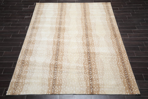 8' x10'  Beige Tan Brown Color Hand Tufted  Oriental Area Rug 100% Wool Contemporary Oriental Rug