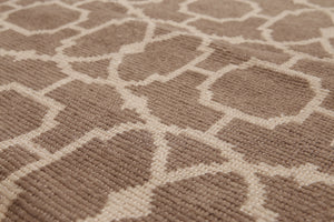 8'x10' Taupe Beige Color Hand-Knotted Turkish Weave Wool Contemporary Oriental Rug