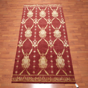 Tibetan Area Rug Hand Knotted Wool & Silk Traditional Superfine Tibetan Damask (6'x9')