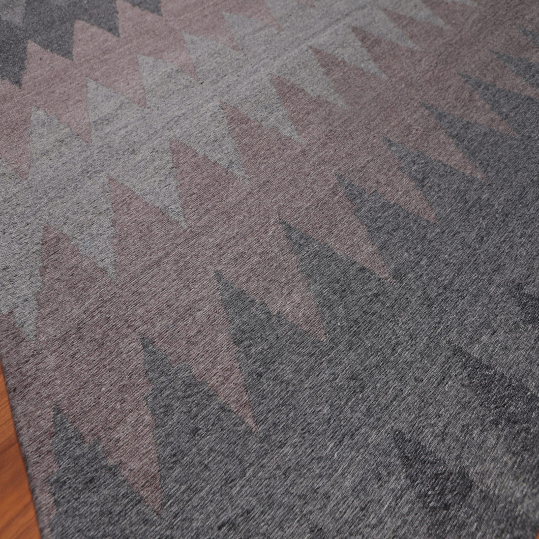 5'x7' Light Grey Dark Grey Faded Aubergene Color Hand Made Flatweave 100% Wool  Modern & Contemporary Oriental Rug