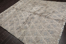 "8'2x10'"" Hand Knotted  Wool Moroccan Plus Pile Oriental Area Rug Gray, Ivory Color"