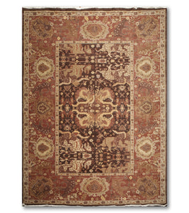 9'x12'   Chocolate Brown  Rust, Gold, Light Green, Multi Color Hand Knotted Oriental Rug Wool Traditional Oriental Rug