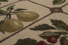 "3'6""x5' Beige olive Rust, Lavender, Green Color Hand Made Hand Hooked  Wool Traditional Garden Oriental Rug"