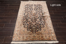 "Persian Oriental Area Rug Hand Knotted 100% Silk Traditional Kashan 400 KPSI (4'2""x6')"