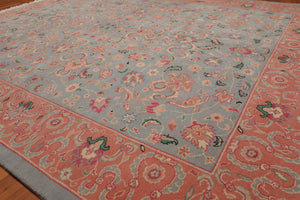 "7'11""x9'11"" Blue Pink Biege, Green, Rose, Aqua, Tan, Multi Color Hand-Knotted Oriental Area Rug 100% Wool  Traditional Persian Oriental Rug"