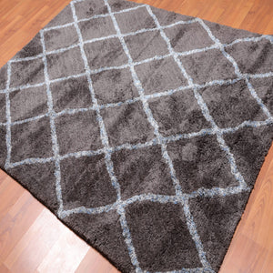 5'4x7'6 Hand Tufted Polypropylene Supersoft Oriental Area Rug Grey, Ivory Color