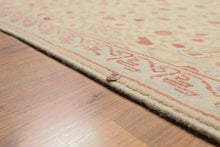 aqua light brown rust, light gold multi color hand-knotted boho rug made of wool.