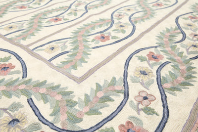 8'x10'   Ivory  Purple, Green, Rose, Multi Color Hand Knotted Needlepoint ChainStitch Wool Traditional Oriental Rug