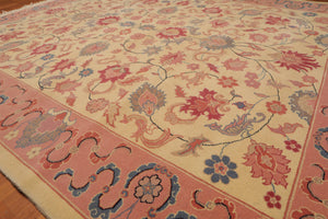 "7'10""x9'11"" Beige Pink Rose, Blue, Grey, Multi Color Hand-Knotted Oriental Area Rug 100% Wool  Traditional Persian Oriental Rug"