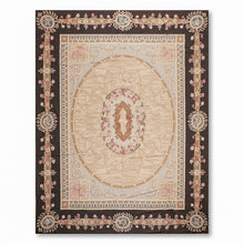 9'x12' Gray Brown Beige, Chocolate, Multi Color Hand-Woven Asmara Needlepoint Aubusson Wool Traditional Oriental Rug