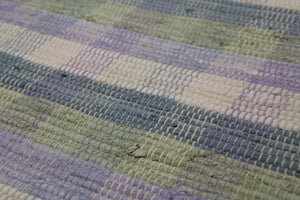 4'x6' Off White Blue Lavender, Blue, Green Color Hand-Woven Reversible Flatweave Wool Modern Oriental Rug