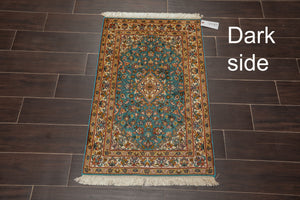 "Persian Oriental Area Rug Hand Knotted 100% Silk Traditional Kashan 400 KPSI (2'x3'1"")"