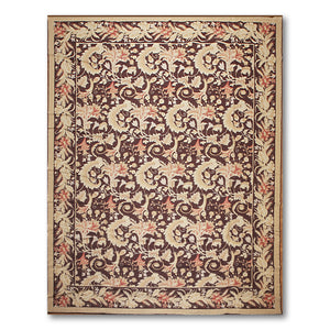 "10'x13'4"" Dark Chocolate Beige Rose, Multi Color Hand-Woven Asmara Needlepoint Aubusson Wool Traditional Oriental Rug"