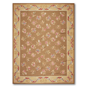 9'x12' Brown Gold Rose, Pink, Blue, Multi Color Hand-Woven Asmara Needlepoint Aubusson Wool Traditional Oriental Rug