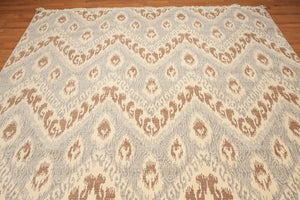 Full Pile Oriental Hand Knotted   Wool Contemporary Ikat/Absttract Design (8'x10')