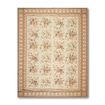 9'x12' Beige Tan Olive, Brown, Multi Color Hand-Woven Asmara Needlepoint Aubusson Wool Traditional Oriental Rug