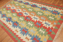 "Turkish Kilim Hand-Woven Wool Traditional Southwestern Tribal Navajo Design Antique Wash Wool Foundation  (6'6""x10'5"")"