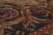 "4'6""x6'9"" Tan Blue Burnt Orange, Brown, Gold, Multi Color Hand-Woven Needlepoint Aubusson Wool Traditional Oriental Rug"