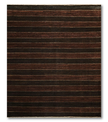 8'x10'   Dark Chocolate  Chocolate, Beige Color Hand Knotted Oriental Rug Wool Traditional Oriental Rug