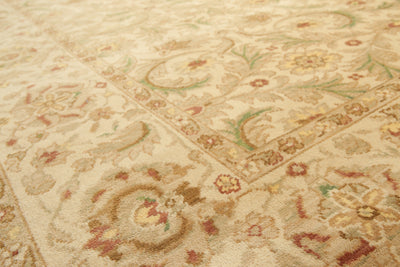 9'x12'   Beige  Brown, Rust, Green, Light Yellow, Multi Color Hand Knotted Oriental Rug Wool Traditional Oriental Rug