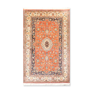 "Persian Oriental Area Rug Hand Knotted 100% Silk Traditional Medallion 400 KPSI  (3'2""x5')"