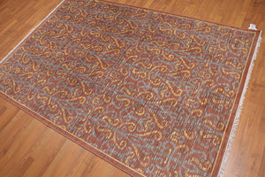 Oriental Hand-Knotted Wool Modern Hand Knotted Oriental Wool Rug  (5'x8')