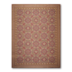 9'x12' Rust Turquoise Tan, Beige, Multi Color Hand-Woven Costikyan Needlepoint Aubusson Wool Traditional Oriental Rug