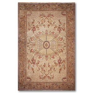 "10'x16'6"" Beige Pale Pink Black, Brown, Peach, Tan, Multi Color Hand-Knotted Persian  Wool Traditional Oriental Rug"