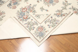 8'x10'   Ivory  Rose, Gray, Blue, Purple, Multi Color Hand Knotted Needlepoint ChainStitch Wool Traditional Oriental Rug