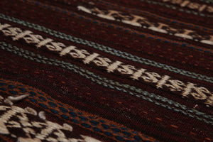 "3'8""x4'8"" Rust Beige Blue, Red, Multi Color Hand-Woven Dhurry Kilim Wool Tribal Oriental Rug"