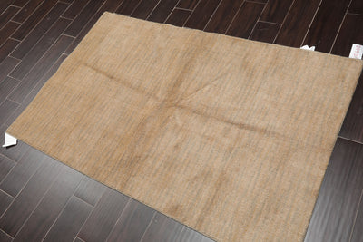 3'6x5'6 Machine Made Wool  Oriental Area Rug Beige, Gray Color