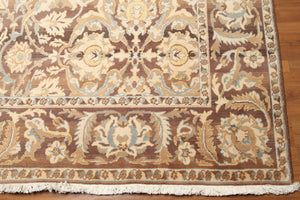 9'x12'   Brown  Turquoise, Pale Yellow, Aubergene, Multi Color Hand Knotted Oriental Rug Wool Traditional Oriental Rug